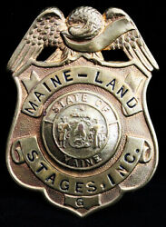 Rare 1930's Maine Land Stages Bus Driver Hat Badge