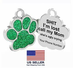 Personalized Pet Dog Sparkly Paw Tags ID Engraved Name Custom Puppy Collar $9.95