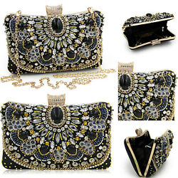 Womens Crystal Evening Clutches Bag Wedding Purse Bridal Prom Handbag Party Bags $23.24