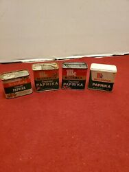 Mccormick And Schilling Imported Paprika Vintage Spice Tins Lot Of 4