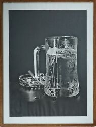 Etching, Black N White Frosted Beer+cigarette, Waiting For... 1, Signed Original