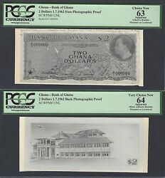 Ghana Face And Back 2 Dollars 1-7-1962 Pick Unlisted Photographic Proof