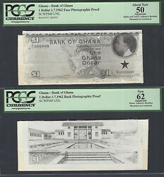 Ghana One Dollar 1-7-1962 Pick Unlisted Face - Back Photographic Proof