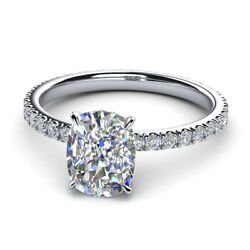 0.82 Ct Cushion Cut Diamond Engagement Rings Solid 14k White Gold Size 5 6 7 8 9