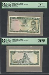 Zambia Face And Back 2 Kwacha Nd1969 P11 Essay Proof Specimen Uncirculated