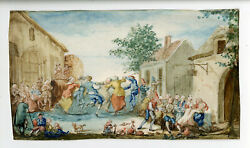 Rare Antique Drawing-village Party-wedding-dance-music-bagpipe-anonymous-18th.c