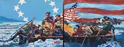 Washington Crossing the Delaware USA Flag Original PAINTING Patriotic DAN BYL