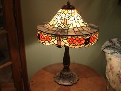 Vintage Poppy Floral Leaded Glass Lamp