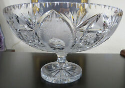 """Fabulous 13"""" Abp Brilliant Cut Glass Footed Compote Center Bowl Masterpiece"""
