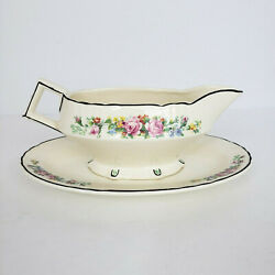 Myott Son And Co England Vintage Circa 1930s Gravy Boat China Floral Roses Stamped