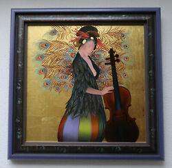 Oil Painting-japanese Musician With Cello Jean-michel Lengrand 1981-1995