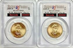 2009 P W.h. Harrison Dollar Pos. A And B Pcgs Sp69 Satin Finish Registry Coin