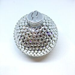 """Bling Christmas Tree Ornament Handmade With Crystals 2-5/8"""" Disco Ball"""