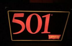 Vintage 1985 Levi's 501 Jeans Light Store Display Hanging 2 Sided Sign Works