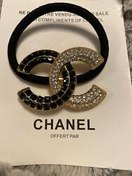 Chanel Gold Tone & Black & Clear Crystals Ponytail Holder