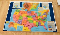 United States Pull Down School Map By Cram 64 X 48