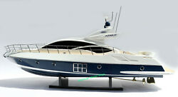 Azimut 68s Model Yacht 35 Blue Hull - Handcrafted Wooden Model New