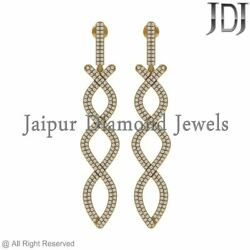Diamond Pave Earrings Yellow Gold 14k Dangle Jewelry White 2.4ct Gift For Womens