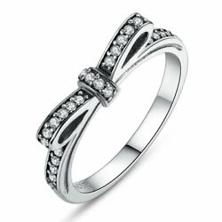 New .925 Sterling Silver Classic Ribbon Bow Ring Promise Purity Ring Gift Ideas