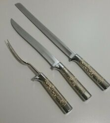 New Vtg Carvel Hall By Briddell 3 Pc Carving Set Silver Overlay New Without Box