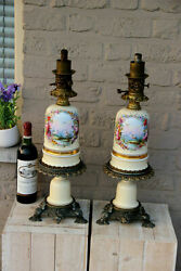 Pair French Antique Oil Lamps Porcelain Hand Paint Duck Bird Marked Rare