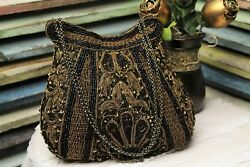 Designer Glam Bag Black Beaded Evening Bag Bronze Embroidery Noly Fuentes  $64.99
