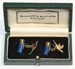 Holland And Holland 18kt Gold/blue Lapis Cufflinks Cartridge And Pheasant Nwot