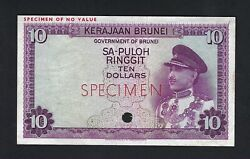 Brunei 10 Ringgit Nd1867 P3ct Color Trial About Uncirculated