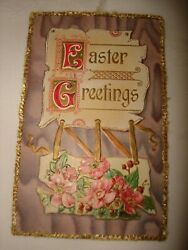Vintage Post Card Easter Greetings With Stamp One Cent Benjamin Franklin Rare