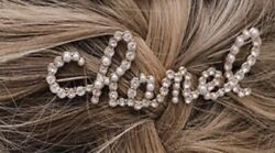 Logo Crystal And Faux Pearl Runway Sold Out Hair Clip Barrette