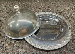 Wm Rogers And Son Silverplate Dome Covered Dish Spring Flower 6.5d