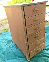 1906 Antique Industrial 6 Drawer Handmade Wooden Small Parts Cabinet, Iron Pulls