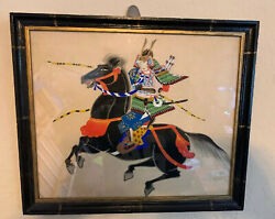 Vtg Japanese Samurai Warrior On Silk. On Black Horse With Bow And Arrows And Sword