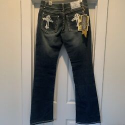 Embellished Iron Horse Leather Cross Women's Bootleg Jeans NWT size 12 $40.00