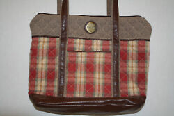 716 Longaberger Orchard Plaid Quilted Bag Purse Homestead - Rare