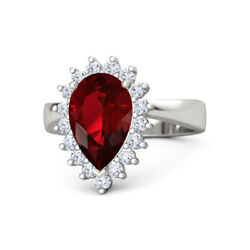 Best Christmas Gift 3.50 Ct Ruby Real Diamond Wedding Ring 950 Platinum Size 7 8