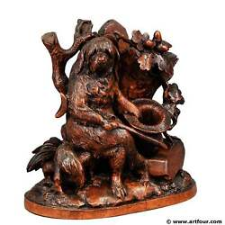 Fine Carved Black Forest Statue Of A Disabled Dog - Brienz Ca. 1900