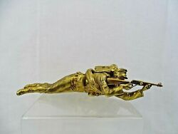 Rare Antique Bronze Figural Inkstand Inkwell Military Austrian Hungarian Soldier