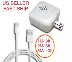 Lot 12w Usb Power Adapter Charger For Iphone 8 7 X Ipad 2 3 4 Air 1m 2m 3m Cable