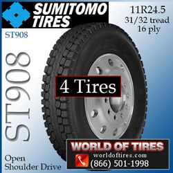 Sumitomo St908 4 Commercial Tires 11r24.5 With Free Shipping