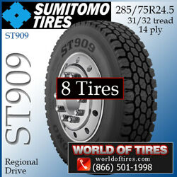 Sumitomo St909 8 Commercial Tires 285/75r24.5 With Free Shipping