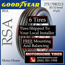275/70r22.5 Rv Tires Motor Home Tires Goodyear G661 Includes Shipping/install