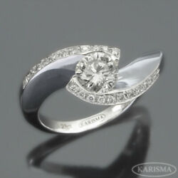 ESTATE COLORLESS WOMEN DIAMOND RING TWISTED 2.31 CT SIDE STONES 18 KT WHITE GOLD