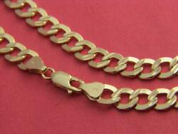 Real 10kt Gold Solid 7mm Wide Dc Curb Link Chain Necklace Real 10k Yellow Gold