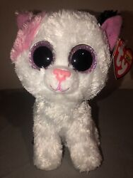 Ty Beanie Boo Muffin The Cat 6 Rare No Whiskers White Pink Black Glitter Eyes