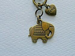 GOOD LUCK ELEPHANT LOVE CHARMS KEYCHAIN CLIP FOR PURSE FOB BACKPACK BAG CHARM