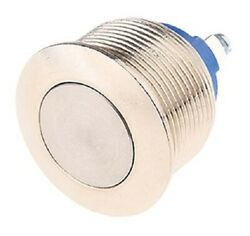 Apem Push Button Switch 2a 24/48v Dc Momentary Spst,screw Terminal, Round Silver
