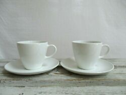 2 Centura By Corning Cups And Saucers White Vintage