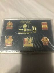 1986 1896 Coca Cola Statue Of Liberty 5 Collector Pin Set Flags Of Freedom