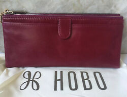 New wTags Hobo International Ruby Leather Taylor Wallet Clutch $118 Gift